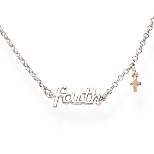 Necklace Faith and Charm Cross Rosè