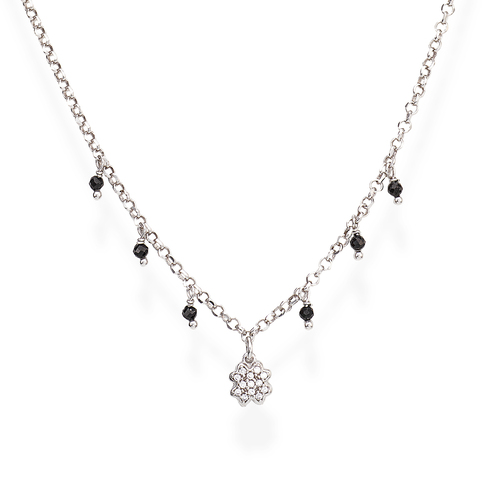Necklace Four-Leaf Clover Zirconia and Nuggets Black