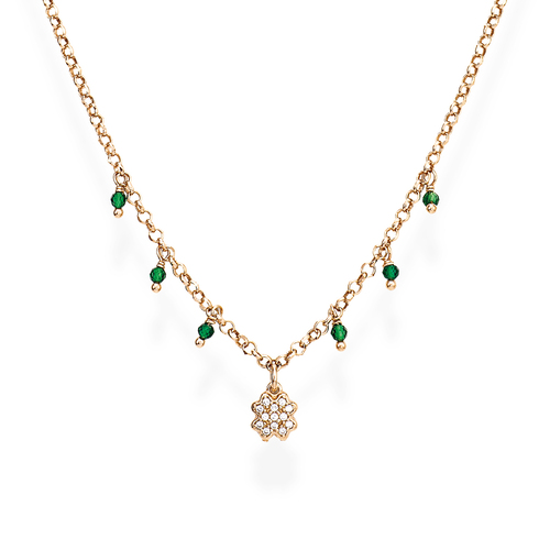 Necklace Four-Leaf Clover Zirconia and Nuggets Green