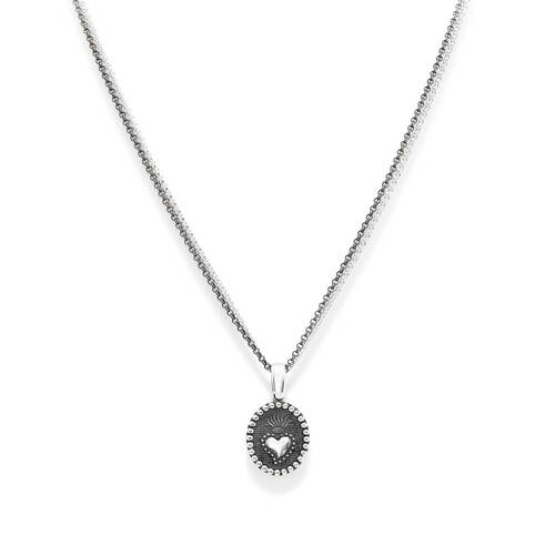 Necklace Hail heart in AG925 burnished and rhodium