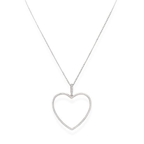 Necklace Heart Big Zirconate