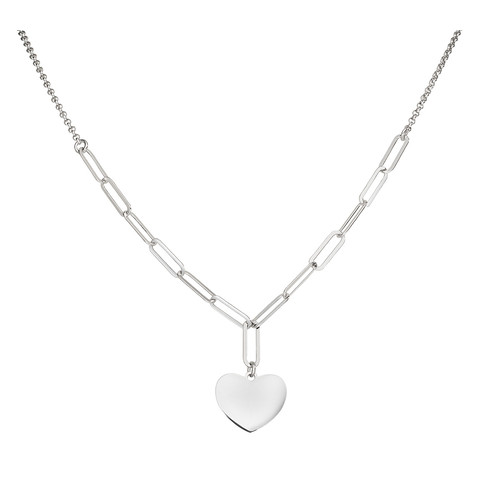 Necklace Heart Chain Double Rhodium