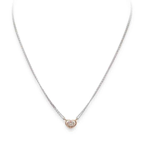 Necklace Heart in Rhodium and rosè con cubic zirconia White