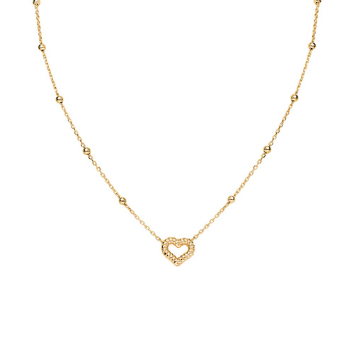 Necklace Heart Knurled Golden