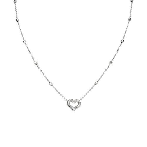 Necklace Heart Knurled Rhodium