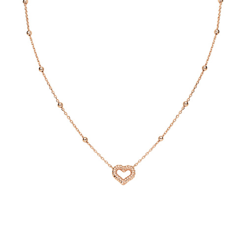Necklace Heart Knurled Rosè