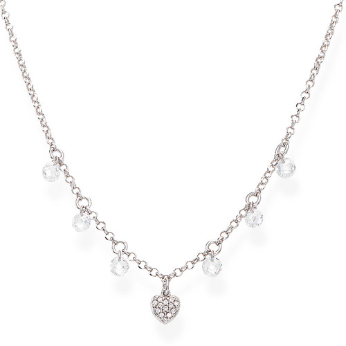 Necklace Heart Zirconate and White Nuggets