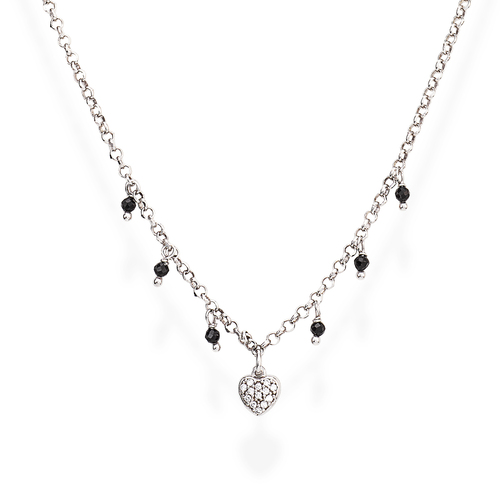 Necklace Heart Zirconia and Nuggets Black
