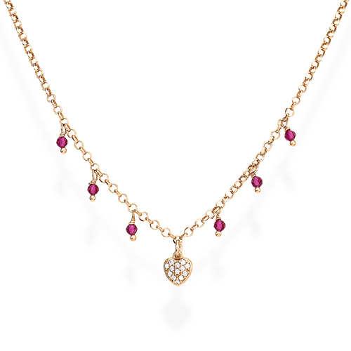 Necklace Heart Zirconia and Nuggets Pink
