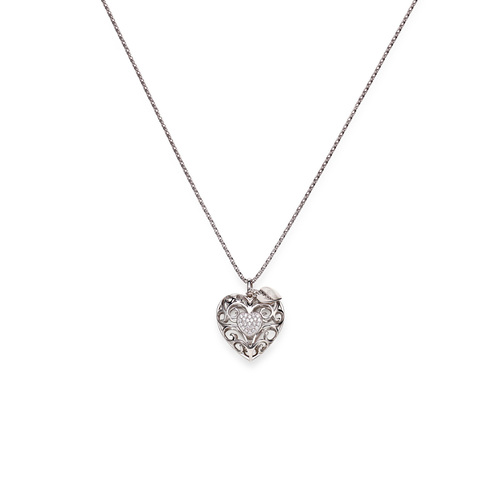 Necklace hearth AG925 and white zirconia