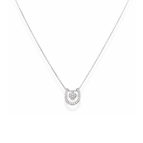 Necklace Horseshoee Hearth Cubic Zirconia