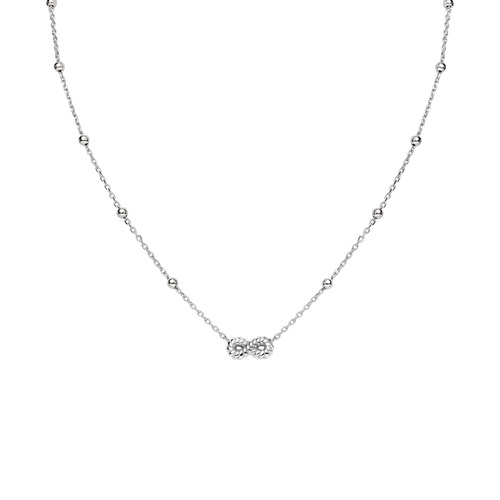 Necklace Infinity Knurled Rhodium