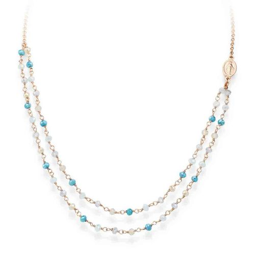 Necklace Iridescent crystals azzurri in AG925 and Cross charm rosè