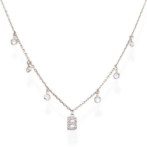 Necklace Letter B Zircons