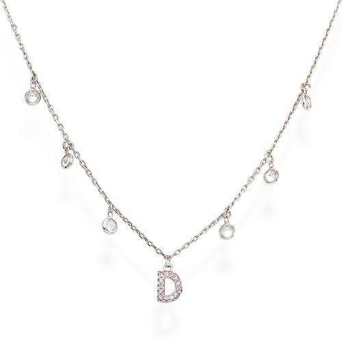 Necklace Letter D Zircons