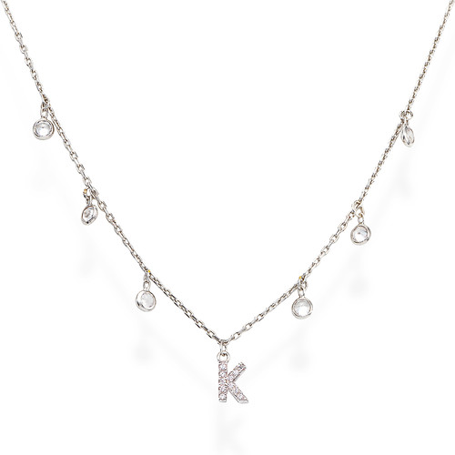 Necklace Letter K Zircons