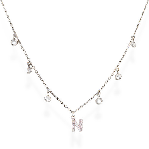 Necklace Letter N Zircons