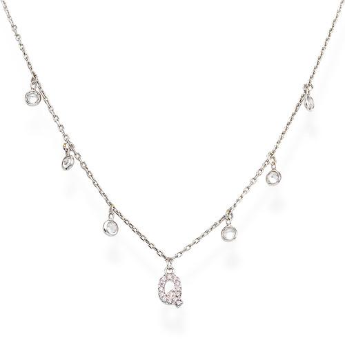 Necklace Letter Q Zircons