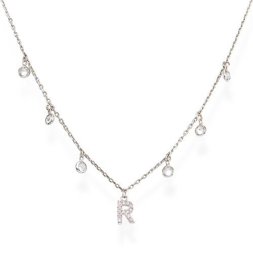Necklace Letter R Zircons