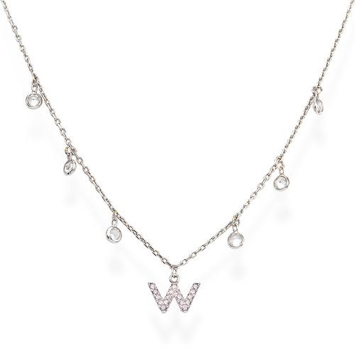 Necklace Letter W Zircons
