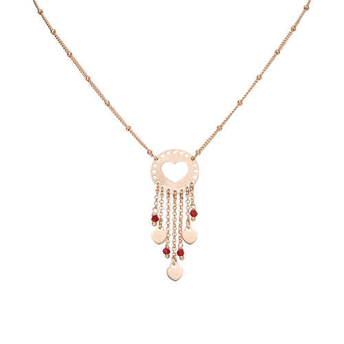 Necklace Love Catcher Rosè and Crystals Red