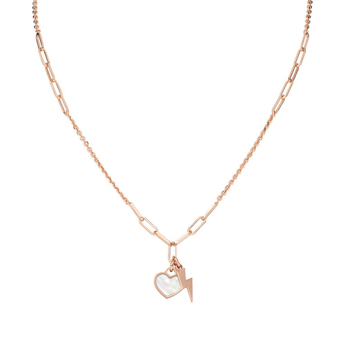 Necklace Love Fulmine and Heart Rosè