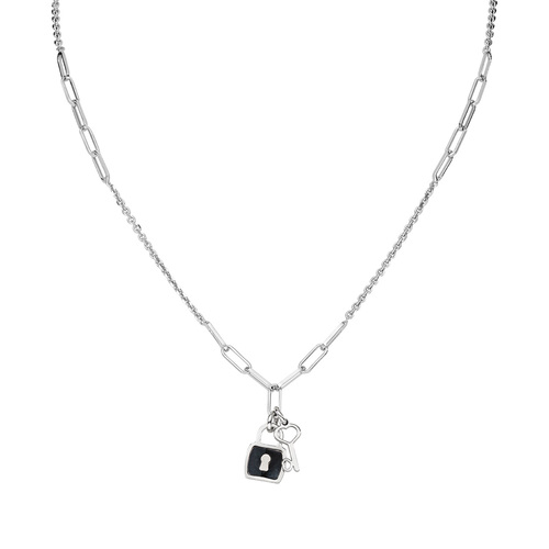 Necklace Love Padlock and Key Rhodium