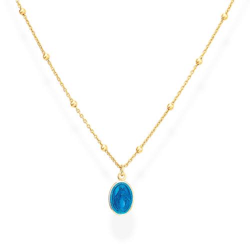 Necklace Madonna Enamelled Blue