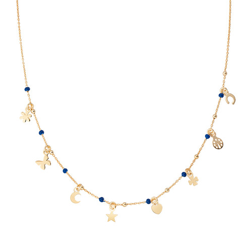 Necklace Multi-Charm Golden and Enameled Blue