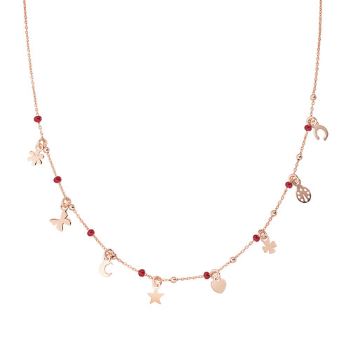 Necklace Multi-Charm Rosè and Enameled Red