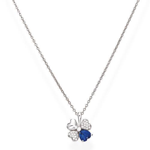 Necklace Quadricuore Rhodium and Zircons White and Blue