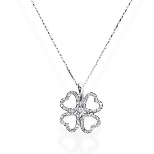 Necklace Quatrefoil Large Zircons