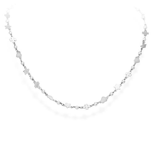 Necklace Quatrefoil Star and Heart Rhodium