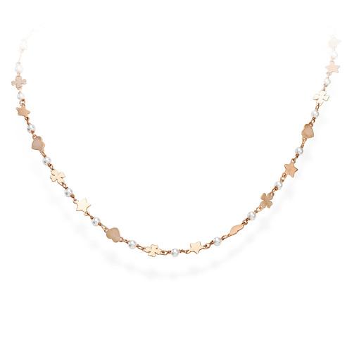 Necklace Quatrefoil Star and Heart Rosè