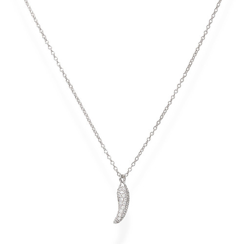Necklace Rhodium Lucky Horn Pavè White