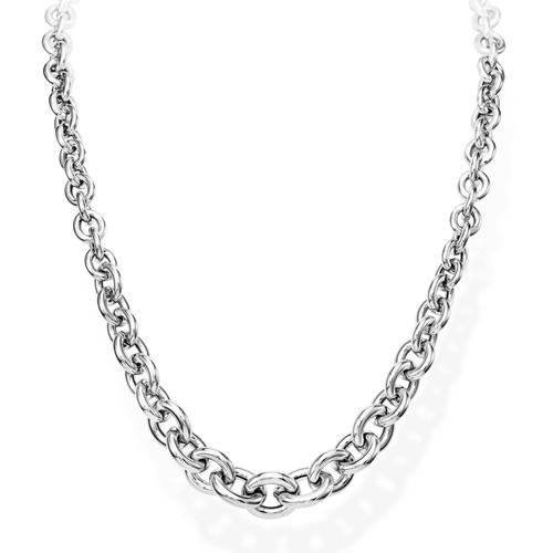 Necklace Rolo Chain Round Rhodium