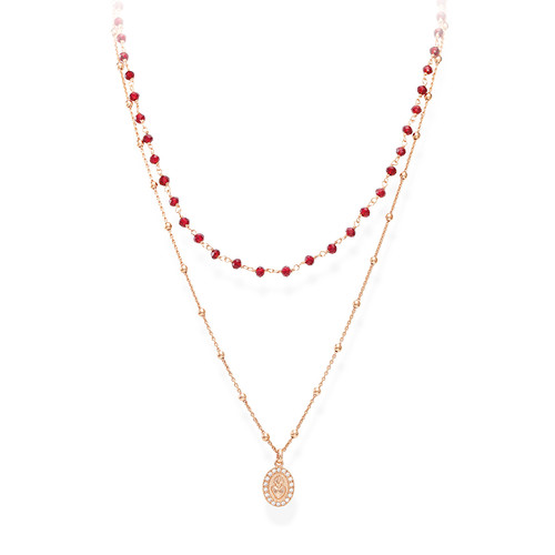 Necklace Sacred Heart and Red Zircons