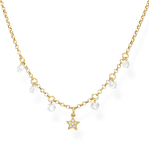 Necklace Star Zirconate and White Nuggets