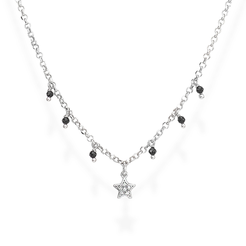 Necklace Star Zirconia and Nuggets Black