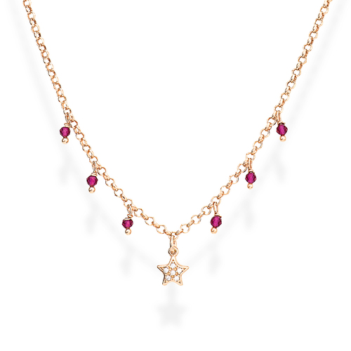 Necklace Star Zirconia and Nuggets Pink