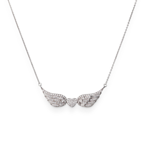 Necklace wings AG925 and white zirconia