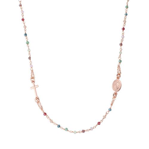 Pastel Multicolor Crystals Round Necklace Rosary