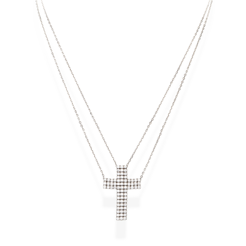 Pave Cross Double Chain Necklace