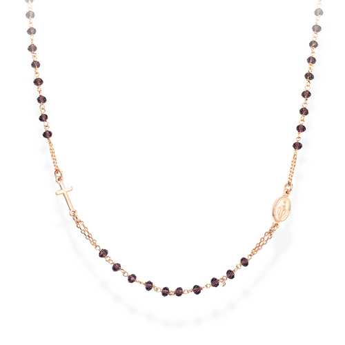 Pinkry Round Necklace Crystals Wine Color
