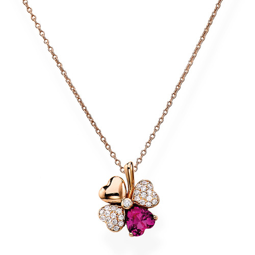 Quadricuore Necklace Rosè and White and Ruby Cubic Zirconia