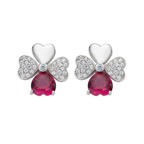 Quadricuore Rhodium and White and Ruby Zircons Earrings