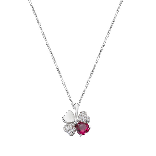 Quadricuore Rhodium and White and Ruby Zircons Necklace