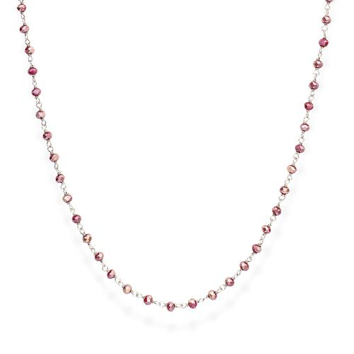 Rhodium and Amaranth Crystal Necklace 90cm
