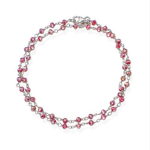 Rhodium and Amaranth Crystal two-turn Bracelet