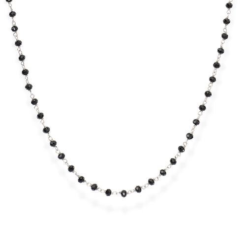 Rhodium and Black Crystal Necklace 90cm